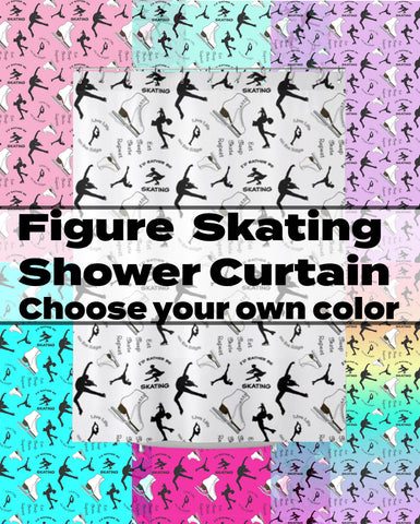 Figure Skating Life- Style 1- Choose Your Custom Color- Textured Fabric Shower Curtain