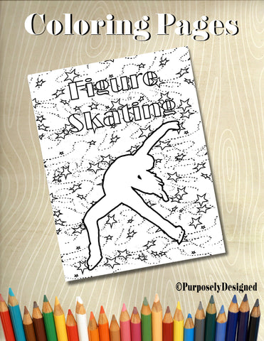 Figure Skating Stars Background - Digital Coloring Page- Adults, Teens, Chilren's Coloring Pages-Stress Releif, Art Therapy