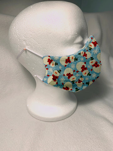 Face Masks in 3D Cone Shape -100% Quilters Cotton -Snowmen on Light Blue Fabric- Adjustable Sizing Face Mask