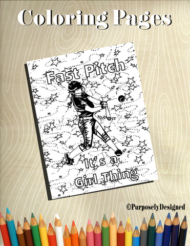 Fast Pitch It's a Girl Thing-Style 2- Coloring Pages