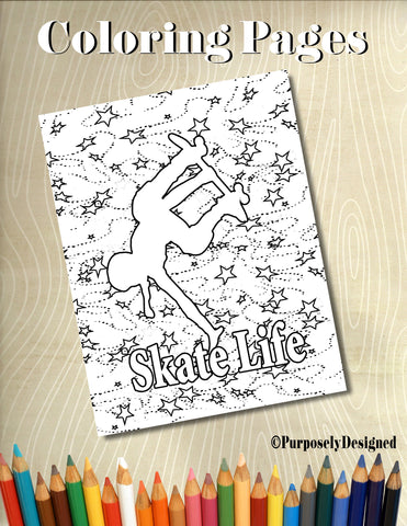 Sk8ter Girl-Skate Life - Coloring Pages  - Adults, Teens, Chilren's Coloring Pages-Stress Releif, Art Therapy