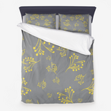 Flourishes in Illuminating Yellow on Ultimate Gray Premium Hypoallergenic Throw Pillow