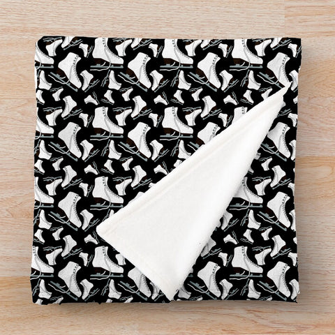 Figure Skates on Black Background Design- Minky Throw Blankets