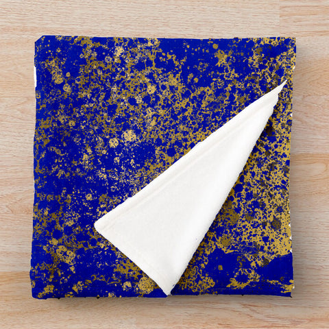 Royal Blue and Gold Patina Design Collection Minky Blankets
