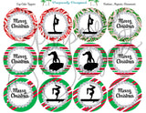 Gymnastics- Holiday/Christmas Printable  Cupcake Toppers-Stickers-Labels - Printable Party Favors
