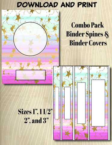 Gradients and Gold Stars - Style 26- Binder and Spine Collection**Not Editable**