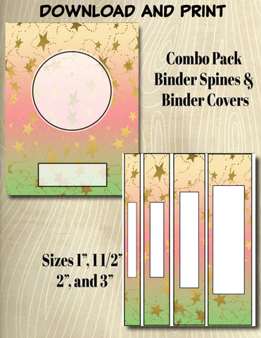 Gradients and Gold Stars - Style 29- Binder and Spine Collection**Not Editable**