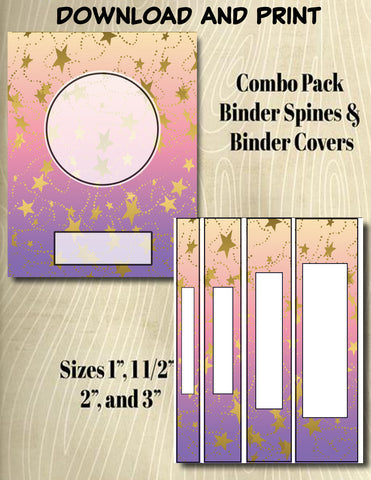 Gradients and Gold Stars - Style 30- Binder and Spine Collection**Not Editable**