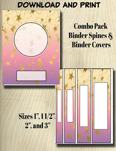 Gradients and Gold Stars - Style 31- Binder and Spine Collection**Not Editable**