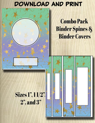 Gradients and Gold Stars - Style 32- Binder and Spine Collection**Not Editable**