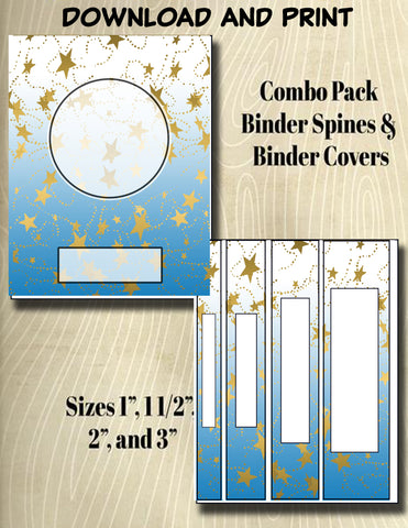Gradients and Gold Stars - Style 33- Binder and Spine Collection**Not Editable**