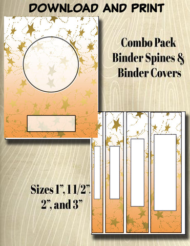 Gradients and Gold Stars - Style 35- Binder and Spine Collection**Not Editable**