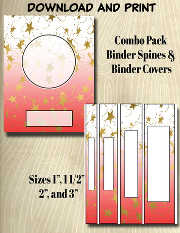 Gradients and Gold Stars - Style 36- Binder and Spine Collection**Not Editable**