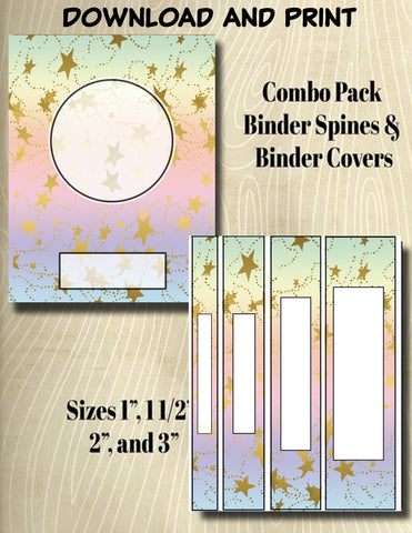Gradients and Gold Stars - Style 40- Binder and Spine Collection**Not Editable**