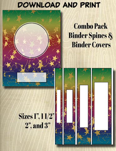 Gradients and Gold Stars - Style 42- Binder and Spine Collection**Not Editable**
