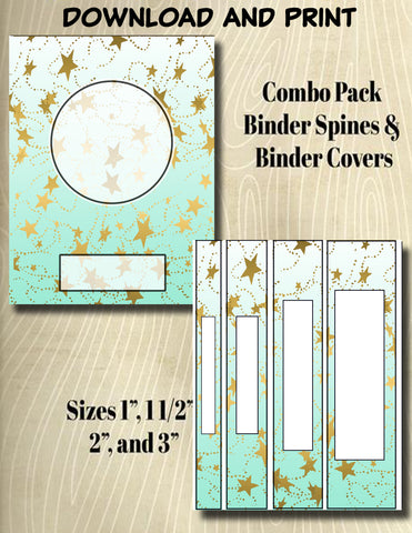 Gradients and Gold Stars - Style 45- Binder and Spine Collection**Not Editable**