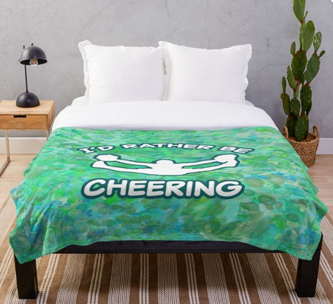 I'd Rather Be Cheering in Turquoise-Minky Blankets