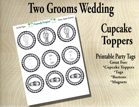 Two Grooms Wedding  Cupcake Toppers with Rhinestones, Black and Silver/Platinum/White Gold- Printable Party Tags -Printable Party Favors