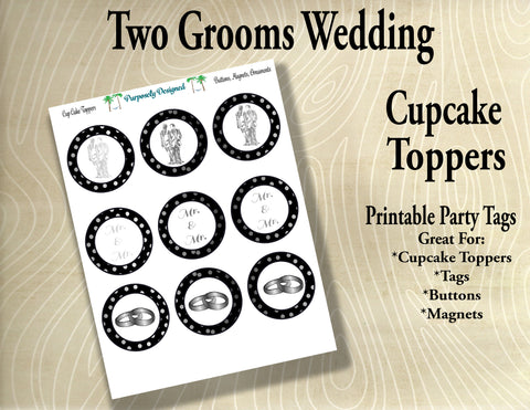 Two Grooms Wedding  Cupcake Toppers in Black and Silver/Platinum/White Gold- Printable Party Tags -Printable Party Favors