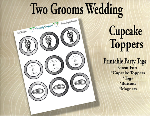 Two Grooms Wedding Cupcake Toppers in Silver/Platinum/White Gold- Printable Party Tags -Printable Party Favors