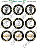 Two Grooms Wedding  Cupcake Toppers in Black and Gold - Printable Party Tags -Printable Party Favors
