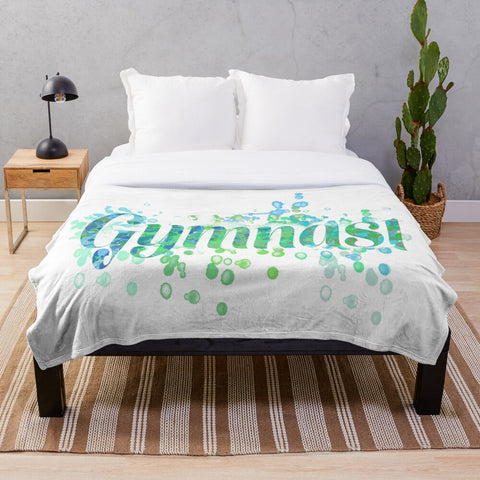 Gymnast Word Art Watercolor Design in Blues and Greens Minky Blanket