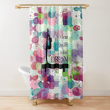 Gymnastics Live Your Dream-Water Color Droplets Design -Textured Fabric Shower Curtain