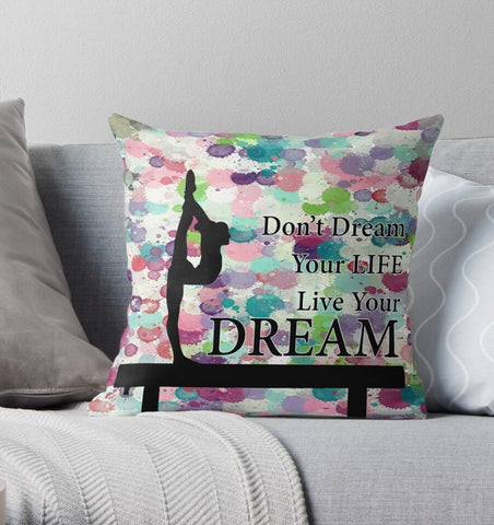 Gymnastics Live Your Dream-Water Color Droplets Design Throw Pillows