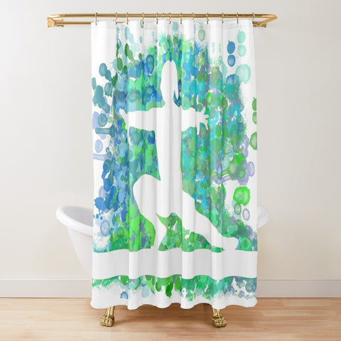 Gymnastics Beam Watercolor Design in Blues and Greens -Shower Curtain-Style 2