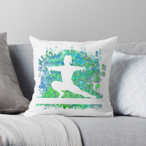 Gymnastics Beam Watercolor Design in Blues and Greens - Premium Hypoallergenic Throw Pillow