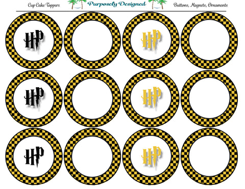 Harry Potter Inspired Hufflepuff Colors Checker Cupcake Toppers-Stickers-Magnets -Printable Party Tags -Printable Labels