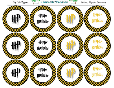 Harry Potter Inspired Hufflepuff Colors Checker Birthday Cupcake Toppers-Stickers-Magnets -Printable Party Tags -Printable Labels