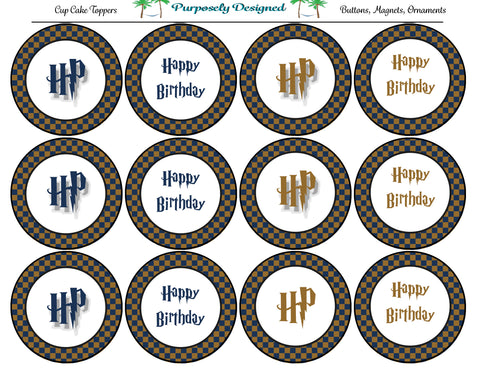 Harry Potter Inspired Ravenclaw Colors Checker Birthday Cupcake Toppers-Stickers-Magnets -Printable Party Tags -Printable Labels
