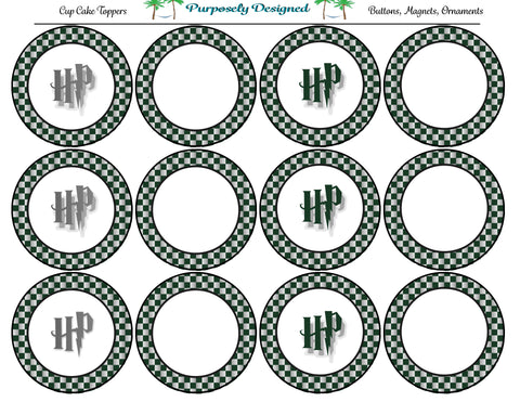 Harry Potter Inspired Slytherin Colors Checker Cupcake Toppers-Stickers-Magnets -Printable Party Tags -Printable Labels