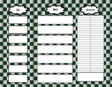 Harry Potter Inspired Slytherin Checker Pattern Weekly Menu Planner and Grocery List- Instant Download and Printable