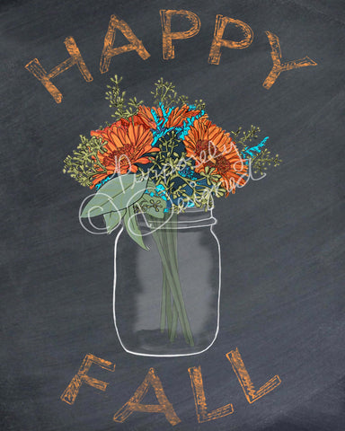 Fall Chalkboard Floral Bouquet Print-Digital Download- Various Styles Available