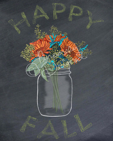 Fall Chalkboard Floral Bouquet Print- Various Sizes Available