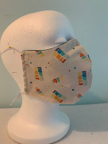 Face Mask/ Face Cover Star Wars Retro Rainbow Themed Fabric-3D Style-- Adjustable Sizing Face Mask--FREE SHIPPING