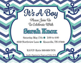 Customized Nautical  Baby Boy Shower Invitation