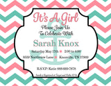 Customized Nautical Baby Girl Shower Invitation