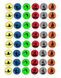 Men's Gymnastics Silhouette Set- Multi Colored Silhouette Sheet-1 Inch Circles for Round Bottle Caps, Magnets, Hair Bow Centers, Stickers