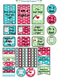 Big Happy Planner Sticker Sheet-  Polka Dot Color Sets Medical Stickers