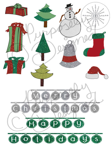 Christmas Sticker Collection 3-Planner Stickers,Silhouette Print and Cut Design and more- DOWNLOAD