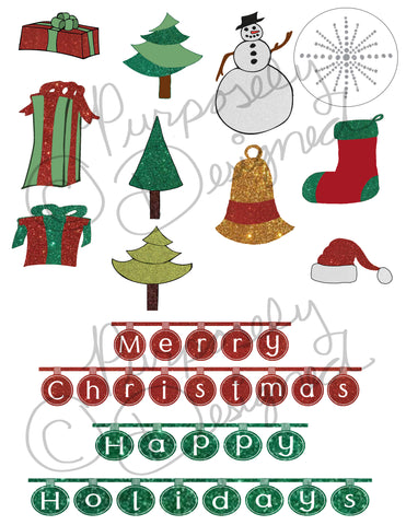 Christmas Sticker Collection 4-Planner Stickers,Silhouette Print and Cut Design and more- DOWNLOAD