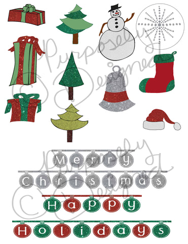 Christmas Sticker Collection 5-Planner Stickers,Silhouette Print and Cut Design and more- DOWNLOAD