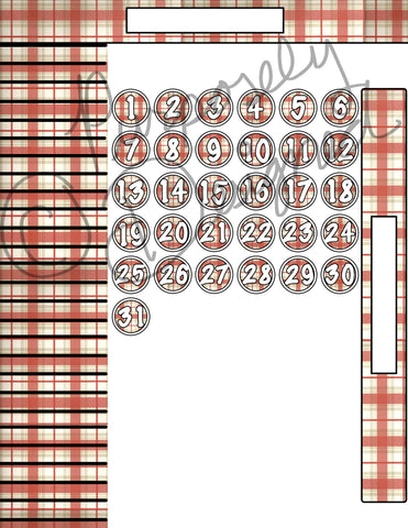 Christmas Plaid Theme Sticker Set for Big Happy Planner Monthly Layout -Digital Download Sticker Set