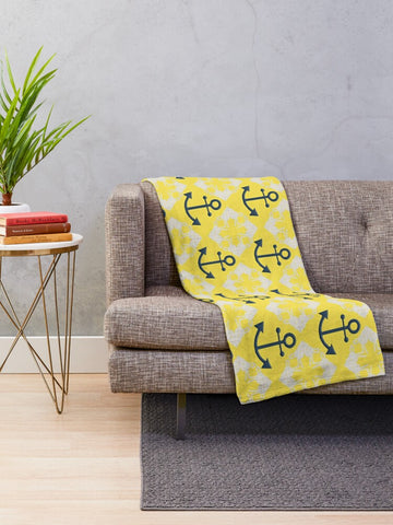 Nautical Knots and Anchors Design on Illuminating Yellow Minky Blankets