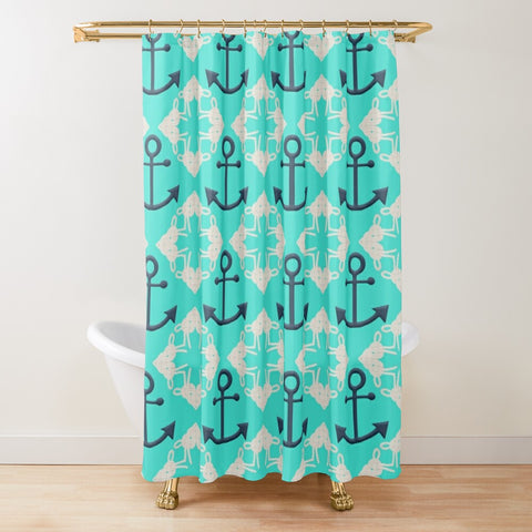 Nautical Knots and Anchors Design- White and Navy on Turquoise Textured Fabric Shower Curtain
