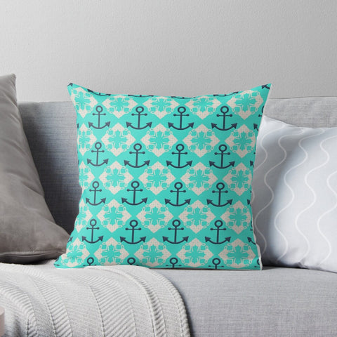 Nautical Knots and Anchors Design- White and Navy on Turquoise Premium Hypoallergenic Throw Pillow