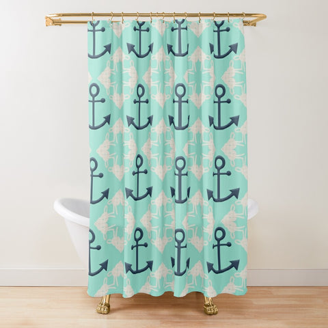 Nautical Knots and Anchors Design on Beach Glass Textured Fabric Shower Curtain